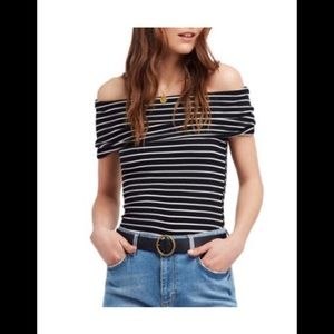 2 FREE PEOPLE Off The Shoulder Striped Tops